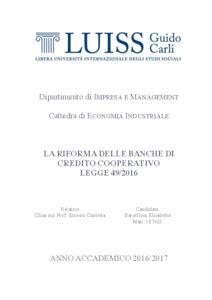La riforma delle banche di credito cooperativo legge 49 for Banche di credito cooperativo