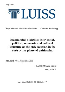 Matriarchal societies: their social, political, economic and